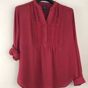 Torrid Size 2 Top Red Blouse Lace Semi Sheer